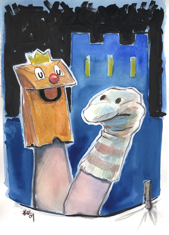 zdepski's sockpuppet hamlet in watercolor