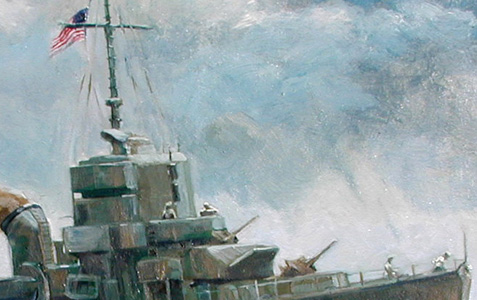Detail of the USS Amick painting by Paul Zdepski