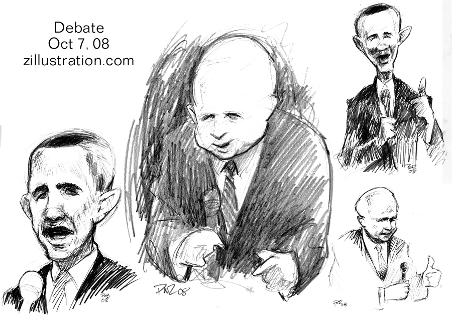 Paul Zdepski's pencil sketches from the US Presidential Debate, Oct 7, 2008