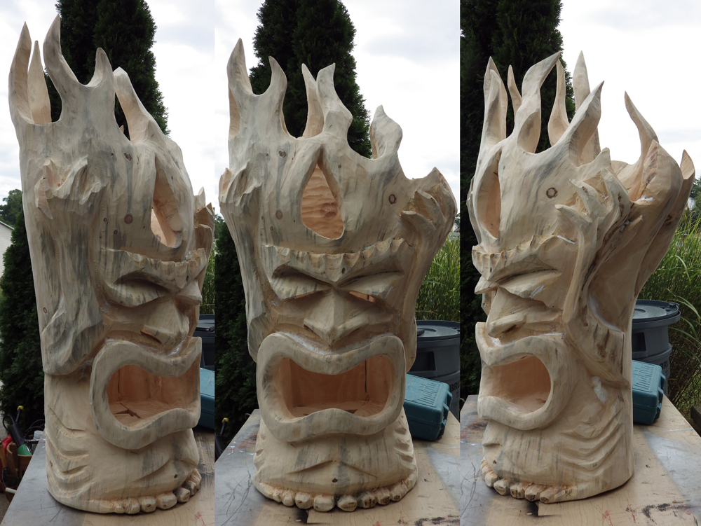 Zdepski's Chainsaw Carving - Fire Tiki Lantern Day 3