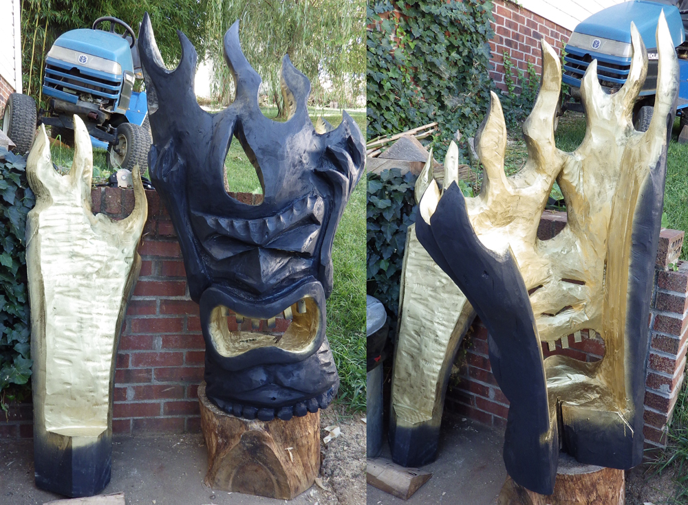 Zdepski's Chainsaw Carving - Fire Tiki Lantern in Black and Gold
