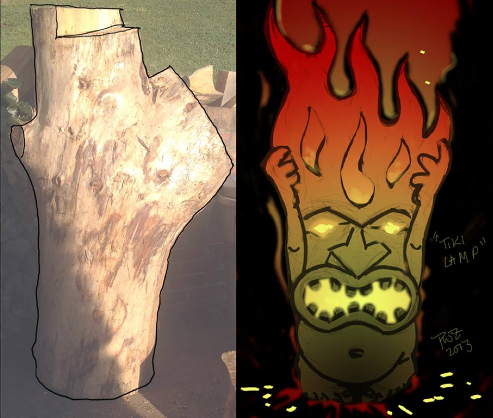 Zdepski's Chainsaw Carving - Fire Tiki sketch