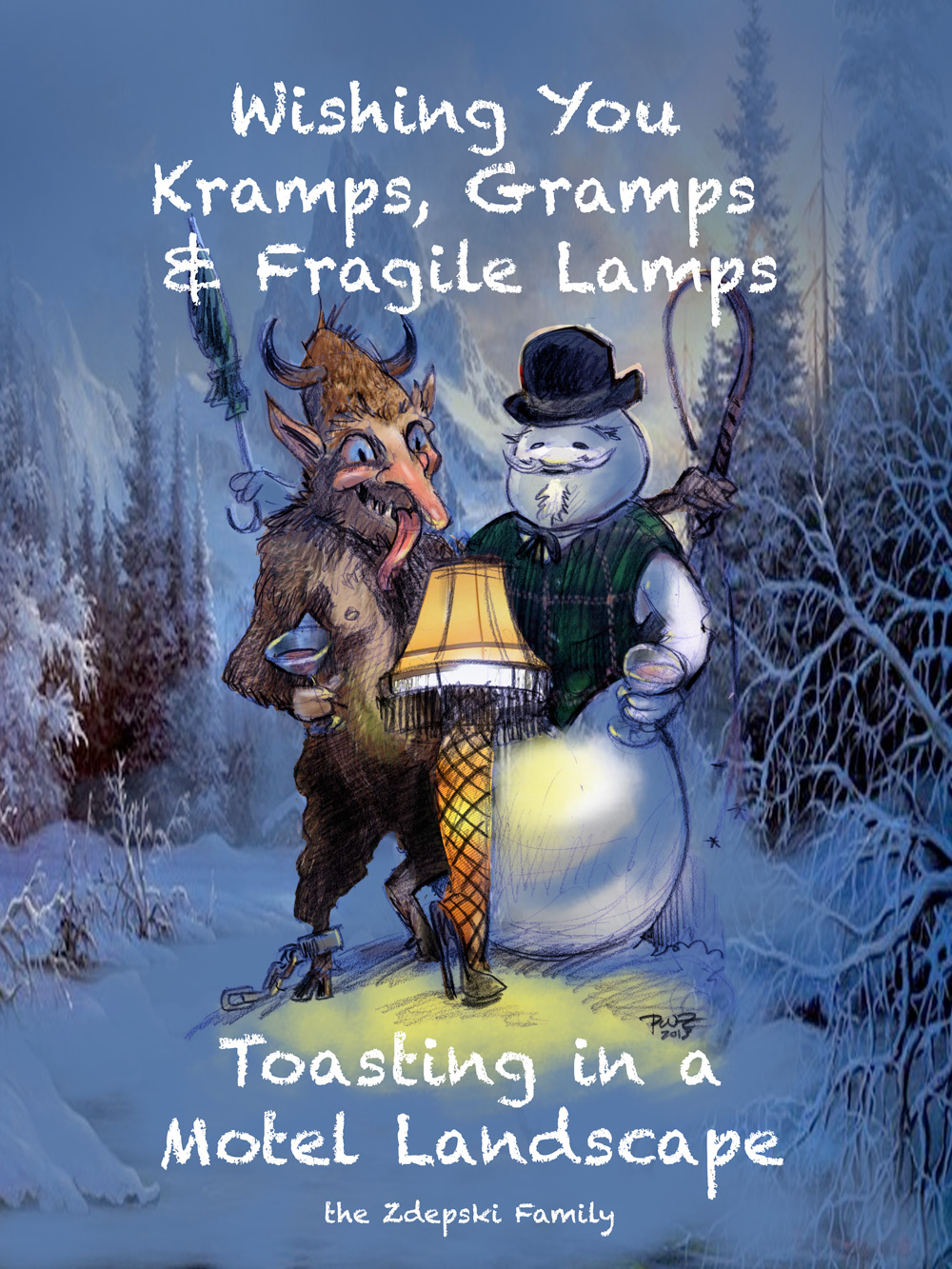 Wishing You Kramps, Gramps and Fragile Lamps Toasting in a Motel Landscape. Merry Christmas from Zillustration.com