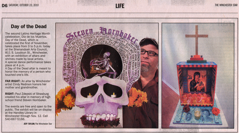 Paul Zdepski in the Winchester Star Newspaper with his Dia de los Muertos sculpture.