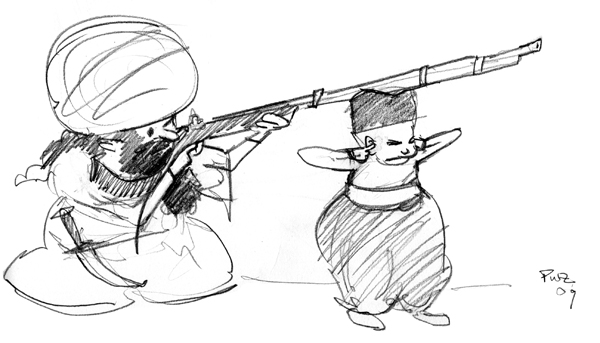 zdepski's drawing of ahziz's assistant helping with target practice.