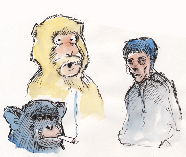 zdepski's watercolor sketches of macac, chip and slacker