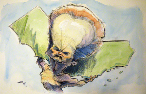 zdepski's watercolor of arnold holding up california