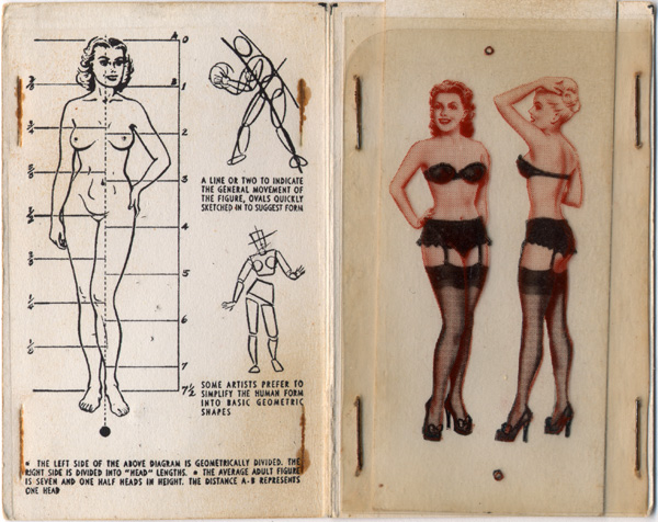 Drawing Tips Booklet Showing Model Proportions and Models in Lingerie