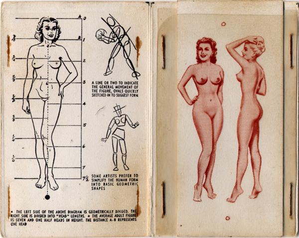 Drawing Tips Booklet Showing Model Proportions and Nude Models