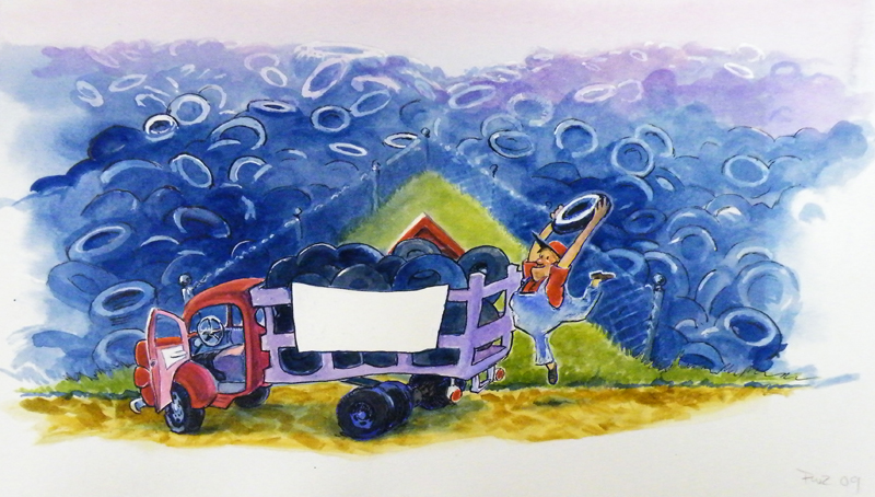Zdepski's painting of A is for Ava with Truck