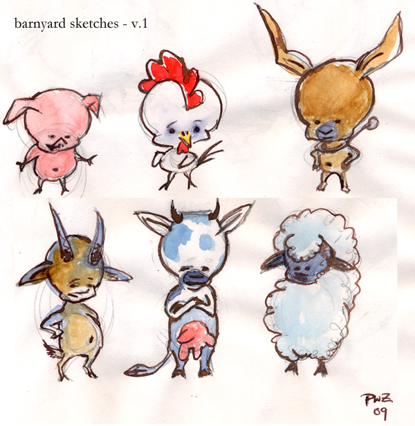 zdepski's animal babies from his sketchbook, watercolor and ink