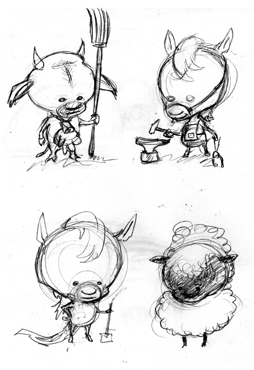 zdepski's animal babies from his sketchbook, graphite