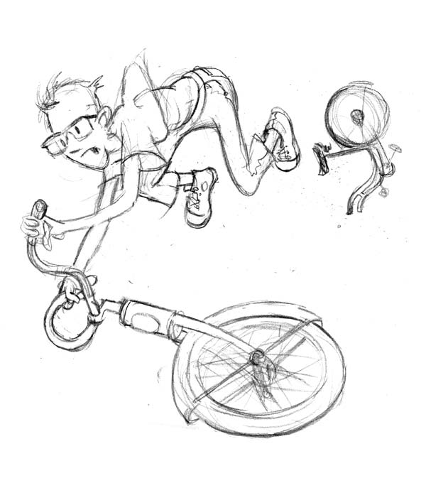 zdepski's pencil drawing of brother Greg's bike breaking while in the air.