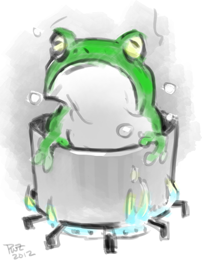 zdepski's illustration of a boiled frog