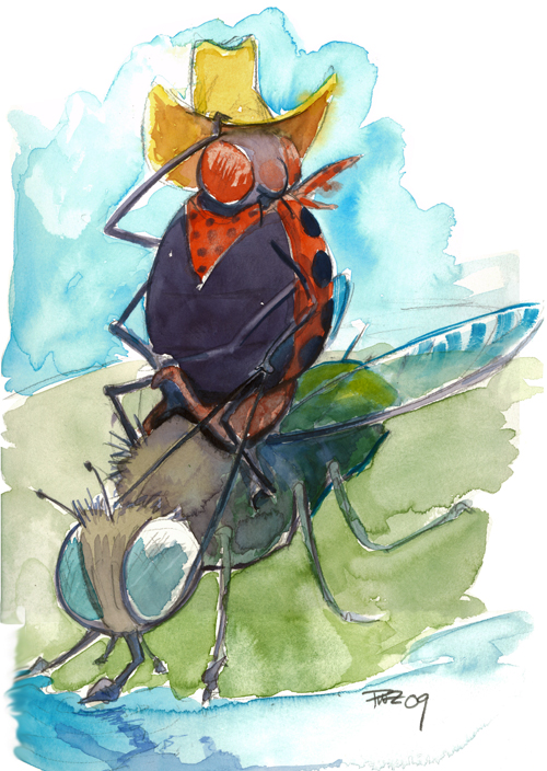 zdepski's watercolor painting Bug Rustler