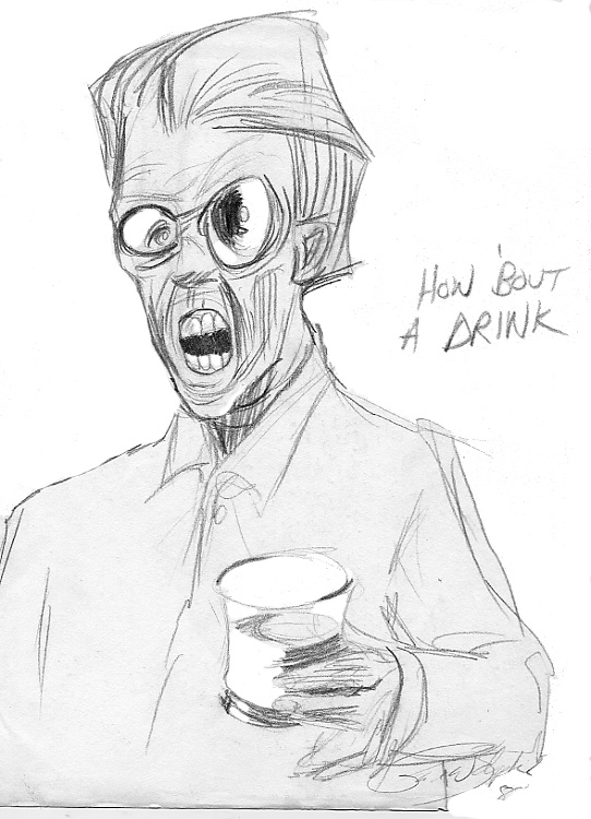 zdepski's drawing of drink being offered while cold turkey