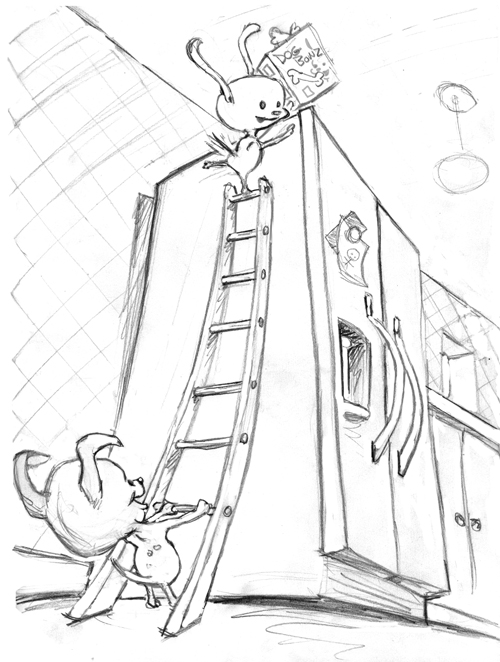 zdepski's drawing for Illustration Friday, Climing