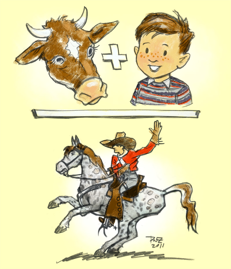 zdepski's banner illustration, Cow Plus Boy Equals Cowboy