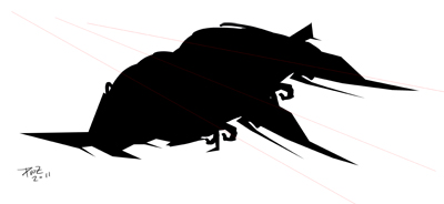 zdepski's silhouette of a spaceship based on a horseshoe crab