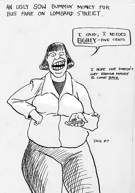 zdepski's drawing of a creepy woman bumming change in the 1980s