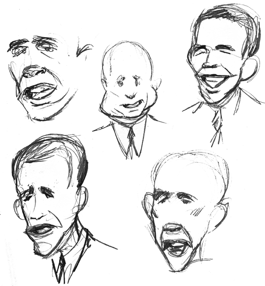 zdepski's sketches of the third presidential debate, october 15, 2008