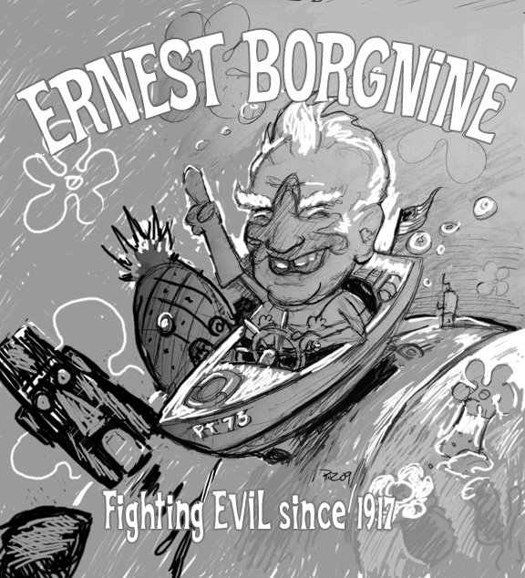 zdepski's sketch of Ernest Borgnine in the PT 73 among the Sponge Bob environment