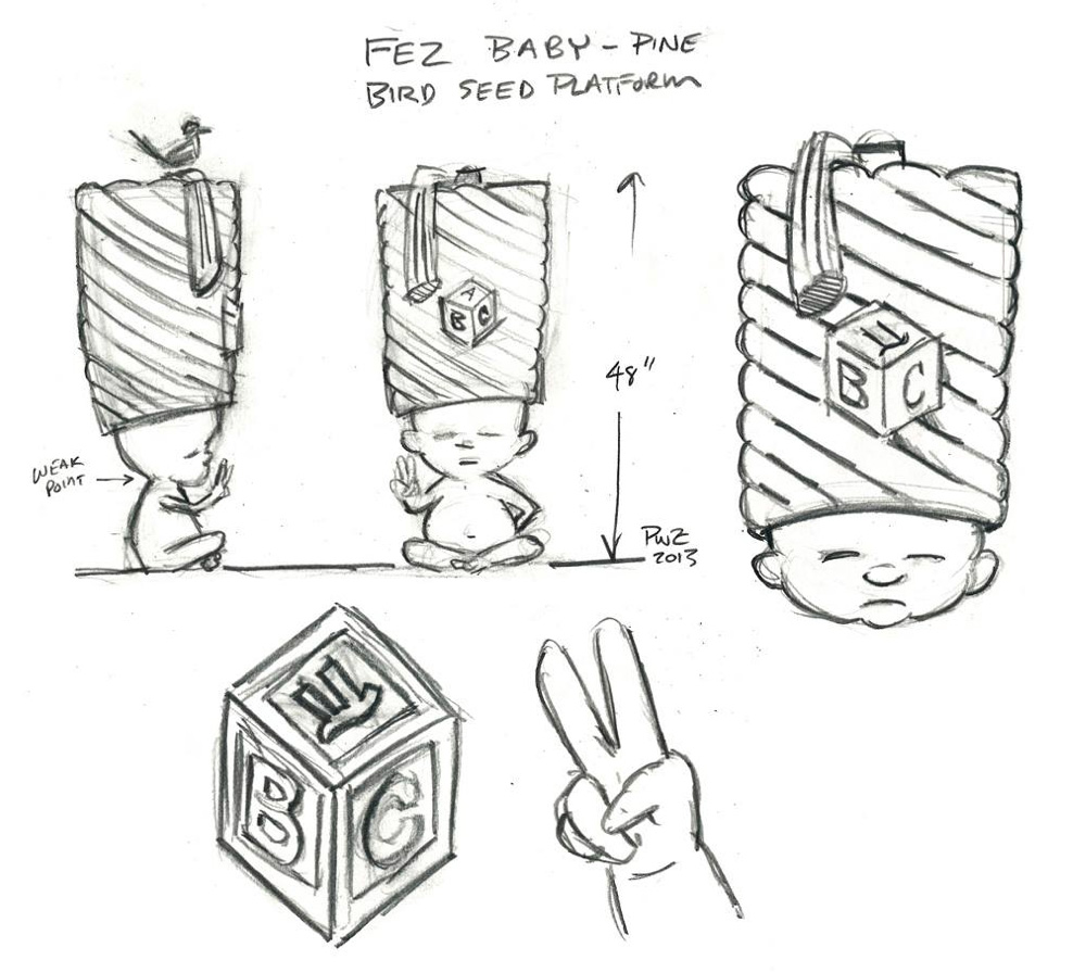 zdepski's sketch for the FezBaby carving.