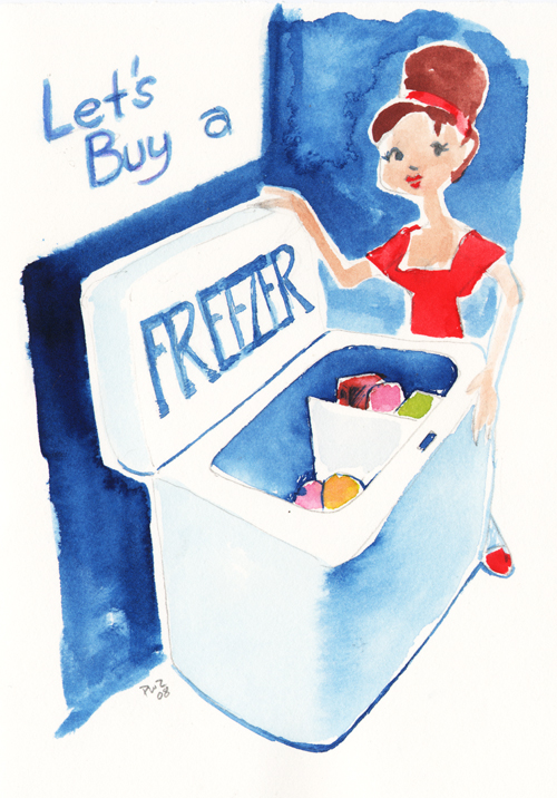 zdepski's watercolor painting called let's buy a freezer