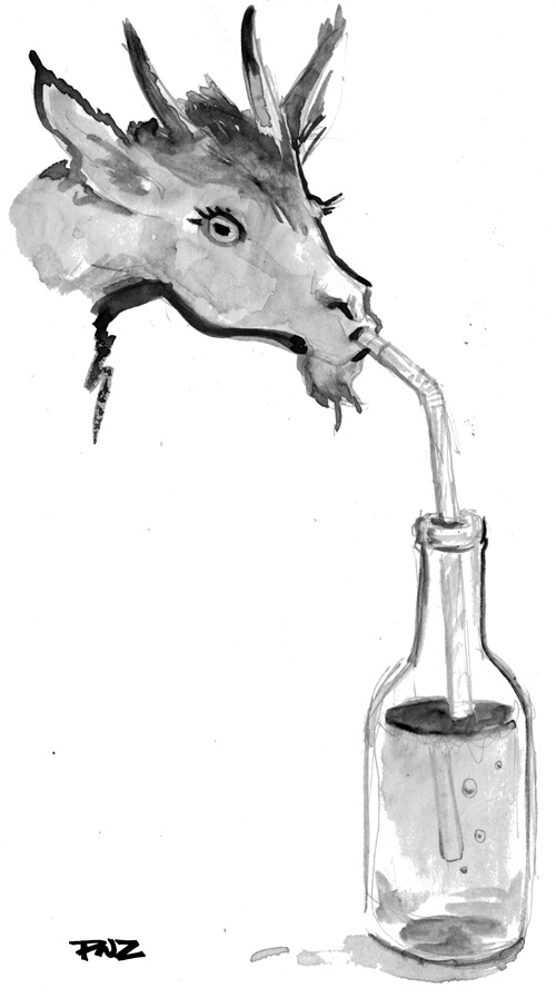 zdepski's painting Goat Juice with charcoal watercolor medium
