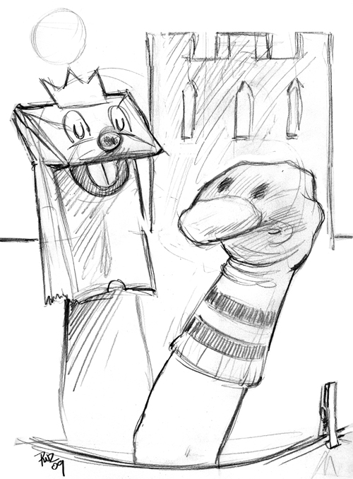 zdepski's sockpuppet hamlet in pencil