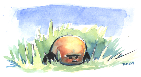 zdepski's watercolor of Cassy in the grass.