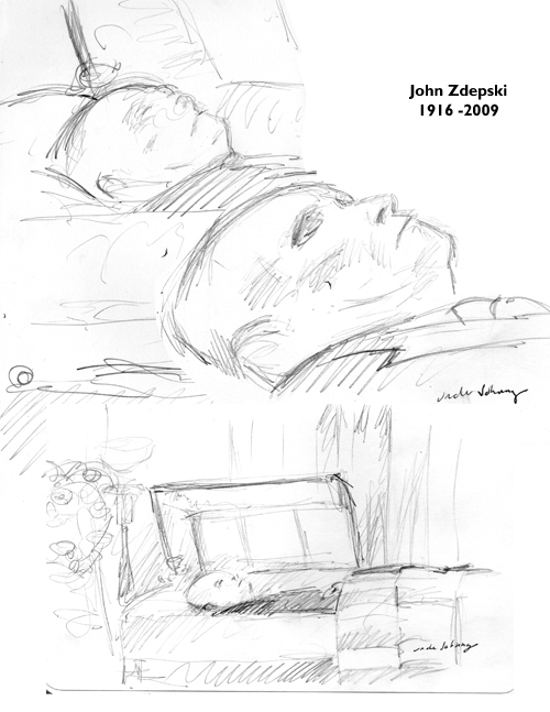 paul zdepski's sketches of his uncle john in the casket