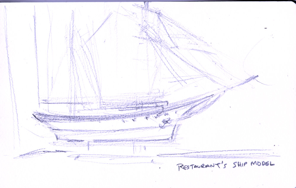 Zdepski's pencil sketch Ship Model - Kennebunkport Maine