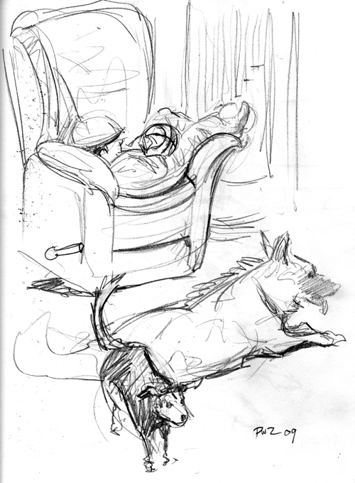 Zdepski's pencil drawing of Living Room Dogs 2