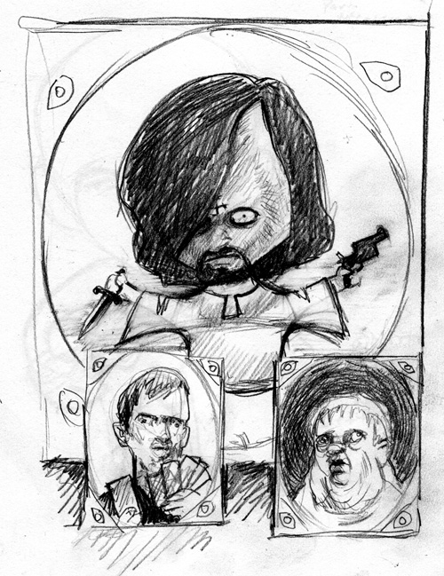 zdepski's sketch of charlie manson family photos