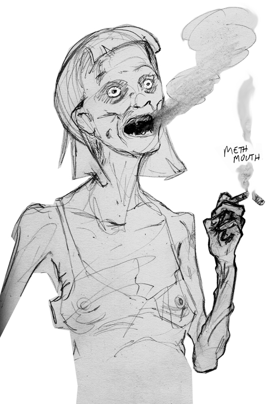 zdepskis drawing, meth mouth - junkie series