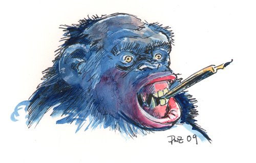 zdepski's pen and watercolor of a chimp with fountain pen
