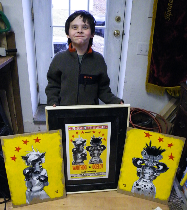 Niki Zdepski and Warthog and Ocelot paintings and print