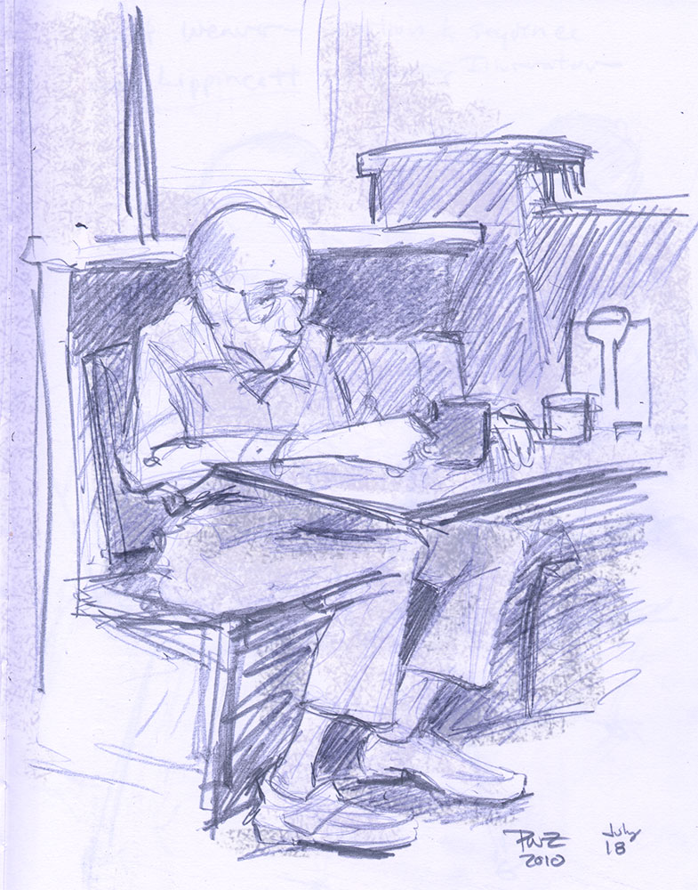 Old man in a CT Diner, sketch by Paul Zdepski