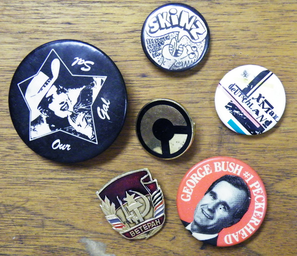 Various pins from Paul Zdepski's Army Jacket