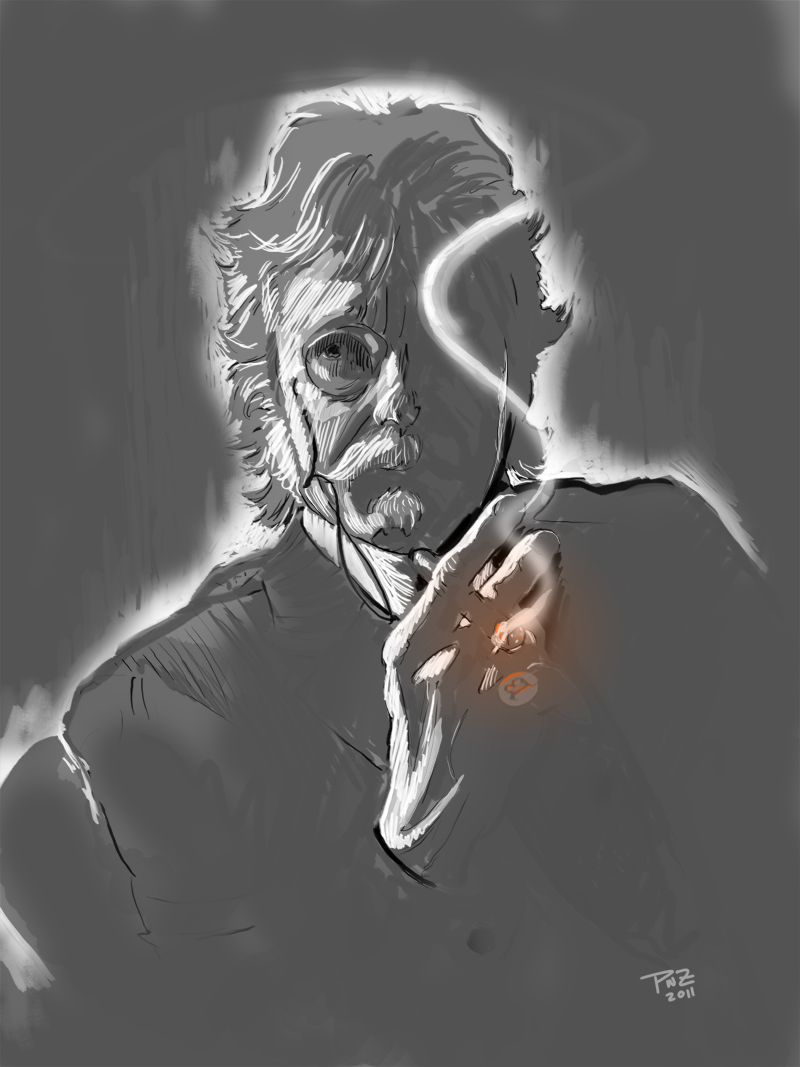 Professor Becker smoking a cigar by Paul Zdepski