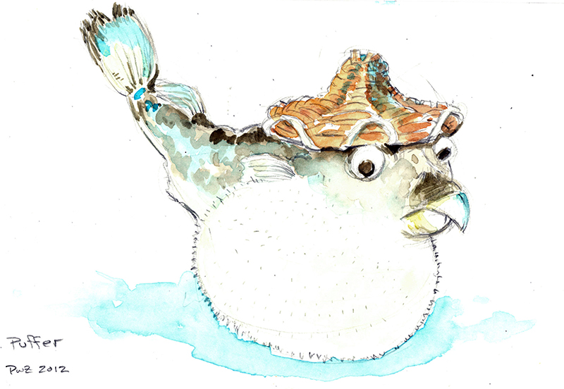 zdepski's watercolor illustration of a Puffer fish.
