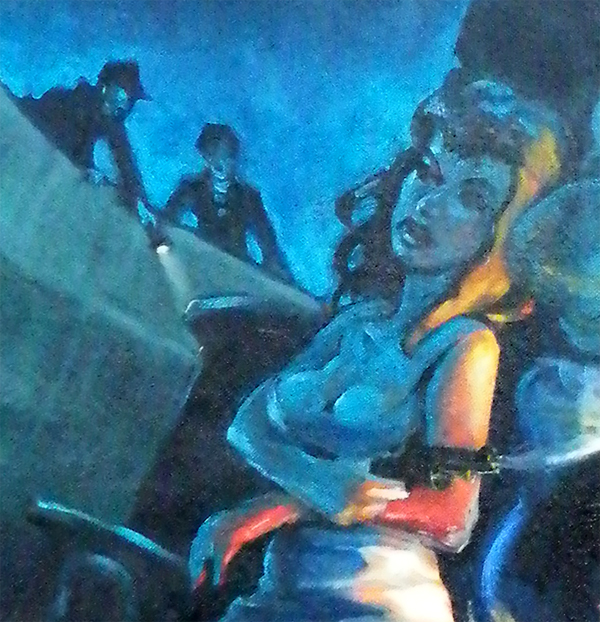 Zdepski's Pulp Dock Cutie detail, oil on canvas