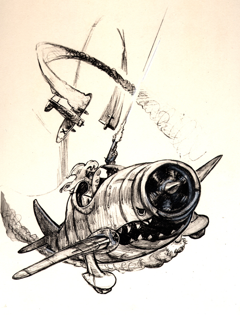 Zdepski's pencil sketch of a Pulp-style Dogfight