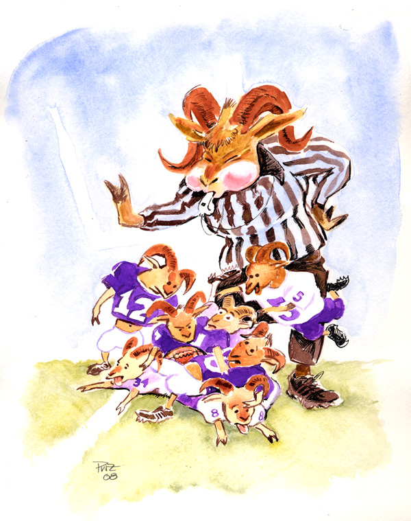 zdepski's sketch of a biddy football watercolor of the Strasburg Rams