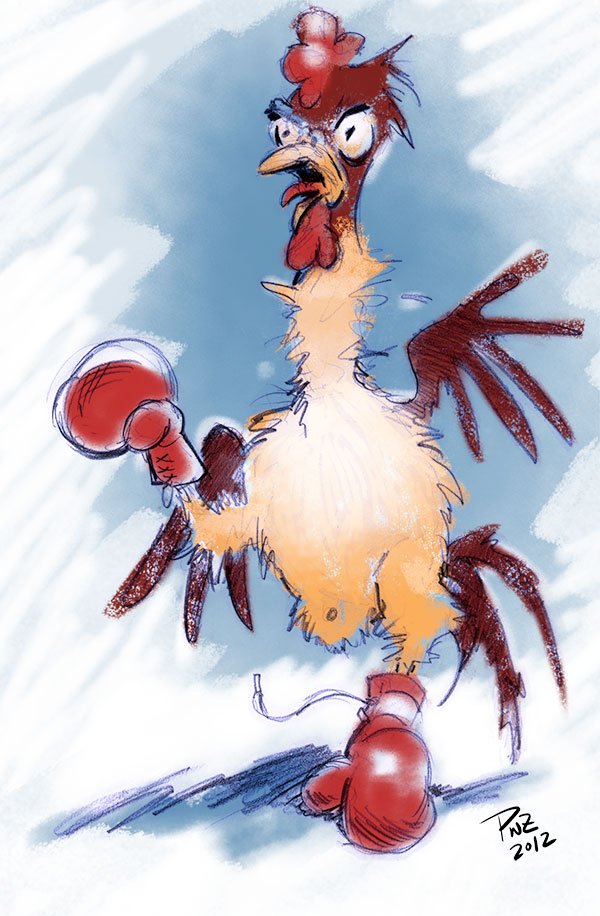 zdepski's illustration of a rooster with boxing gloves