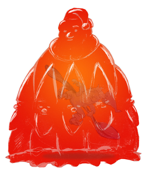 zdepski's sketch of an elf suspended in a Jello mold of Santa Claus
