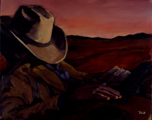 zdepski's oil study of a sleeping cowboy
