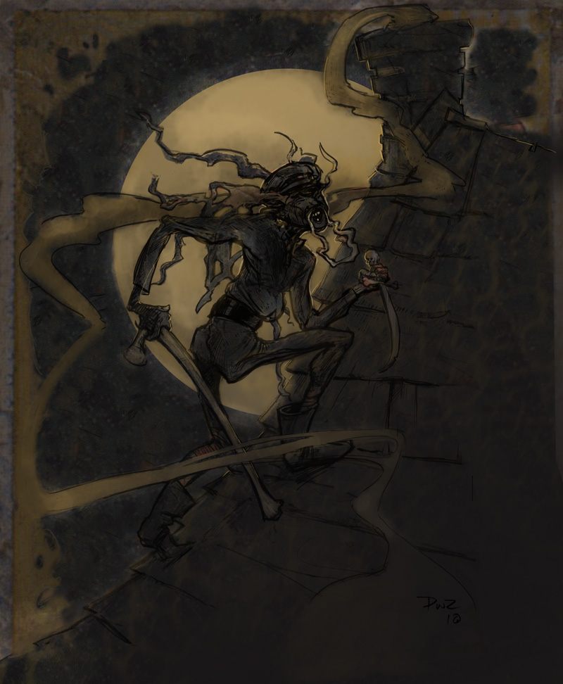 The Sorcerer on Burliuk's roof by moonlight