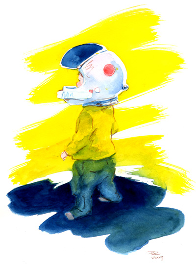 zdepski's watercolor of SpaceKid variation 1